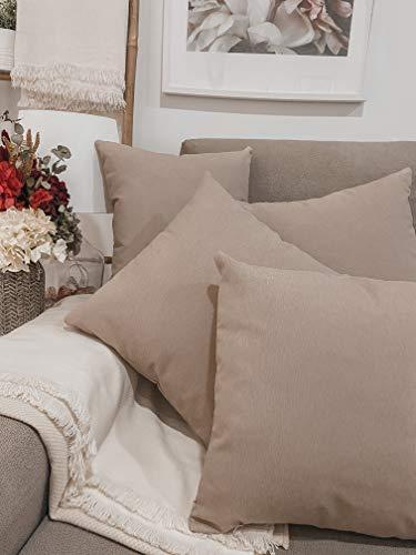 Pack 4 fundas de cojines para sofá EFECTO LINO suave, 16 COLORES fundas para almohada sin relleno, cojín decorativo grande para cama, salón. Almohadón elegante en varios tamaños.(Beige, 45x45cm)