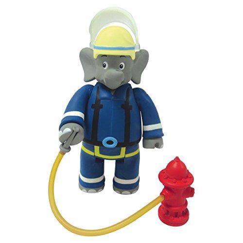 Benjamin Blümchen Figur als Feuerwehrmann 10806, bewegliche Spielfigur ca. 9 cm groß, detailgetreue Gestaltung, mit tollen Accessoires von Jazwares