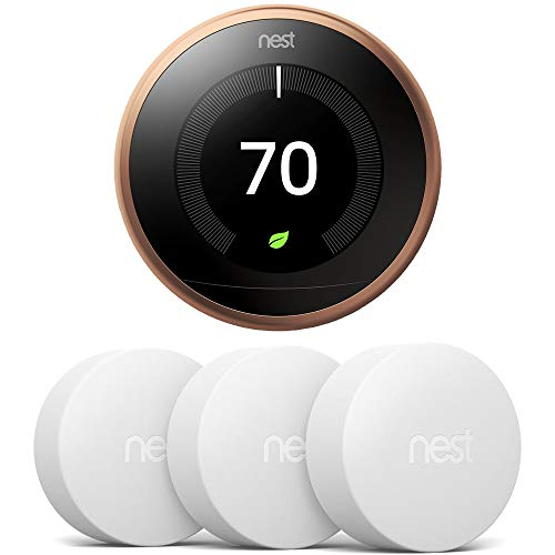 Google Nest Learning Thermostat 3rd Gen, Copper w 3X Temperature Sensor