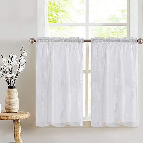 jinchan White Tiers Waffle Woven Textured Short Curtains for Bathroom Rod Pocket Shower Window Covering for Kitchen 36 x 36 InchTwo Panels