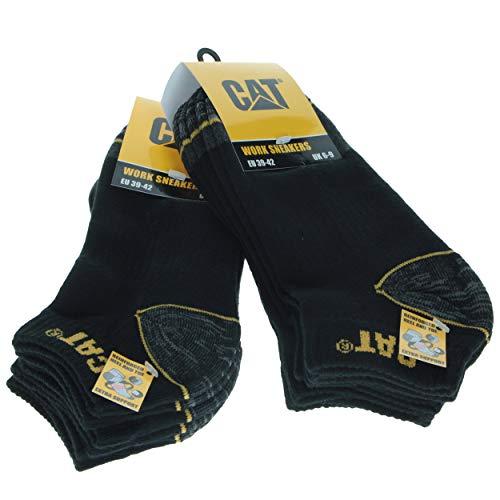 6 Pares calcetines bajos CAT Caterpillar, para hombre, reforzados en el talón y la punta, excelente calidad de Algodón (Negro, 39-42)