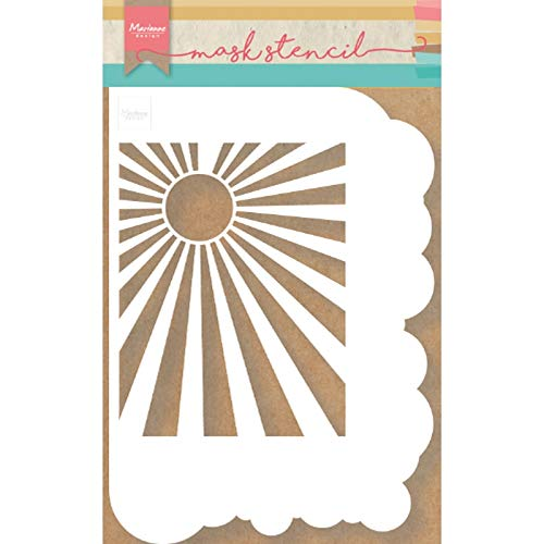 Marianne Design PS8024 Kunst und handwerk Mask Schablone, Wolken Sunburst, für Scrapbooking, Kartengestaltun und Papierbasteln, Wei, Eine größe