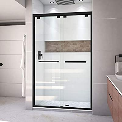 DreamLine Encore 44-48 in. W x 76 in. H Semi-Frameless Bypass Shower Door in Satin Black, SHDR-1648760-09