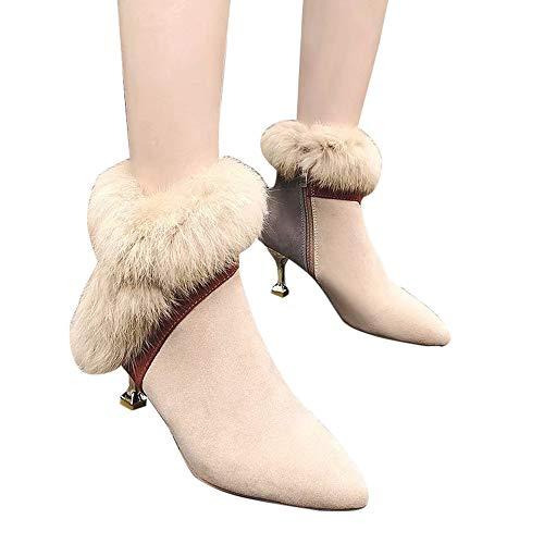 Yvelands Zapatos de tacón Fino con Punta Estrecha en el Tobillo y Punta Estrecha Mujer Mantenga cálidas Botas Cortas(Beige,36