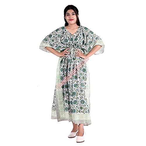 Traje de baño artesanal Bazar para mujer, vestido largo de media manga, para playa, pareo, vestido maxi de algodón de tamaño grande, estampado a mano, floral, vestido de noche, túnica hippie