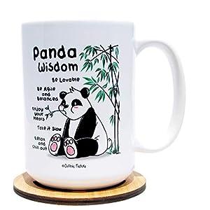 Funny Mug and Coaster Set - Panda Wisdom - 15 ounce Lovable Panda Mug for any Special Panda Occasions. Enjoy the Pandamonium and Laugh with Friends, Family and Coworkers. Panda Wisdom.