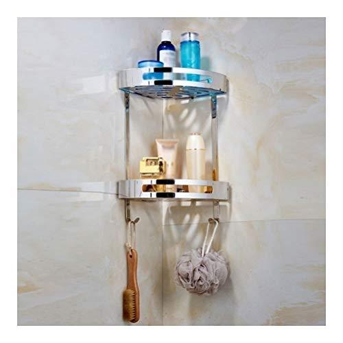 ZhanMazwj 02.01 - Toallero de esquina para baño, acero inoxidable, estante de ducha con ganchos para colgar, 2 niveles, fácil de instalar