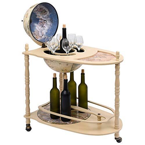 Globusbar Flaschenregal Holz Vintage Weinregal Retro Barwagen Freistehend Globus-Bartisch Barschrank mit Rollen Tischbar für Wein Getränke & Stielgläser 70 x 45 x 88 cm【DE Lager】