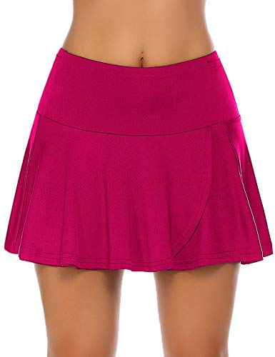 COOrun Women's Tennis Skort Active Pleated Skirts with Pocket for Running Golf Deep Pink
