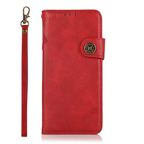 FullProtecter Handykette kompatibel mit Nokia 5.3 Handyhülle,Lederhülle Klappbar, stoßfest Flipcase,Brieftasche für Nokia 5.3,Rot