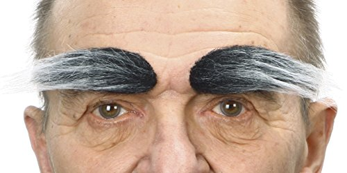 Mustaches Self Adhesive, Novelty, Fake Eyebrows, False Facial Hair, Costume Accessory for Adults,Salt and Pepper Color