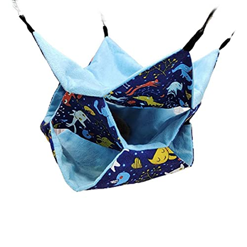 HUBLEVEL Bolsa de Miel Ardilla Voladora Hamaca CáLida de Tres Capas Ardilla Colgante Saco de Dormir PequeeO TúNel para Mascotas Nido Gato Azul