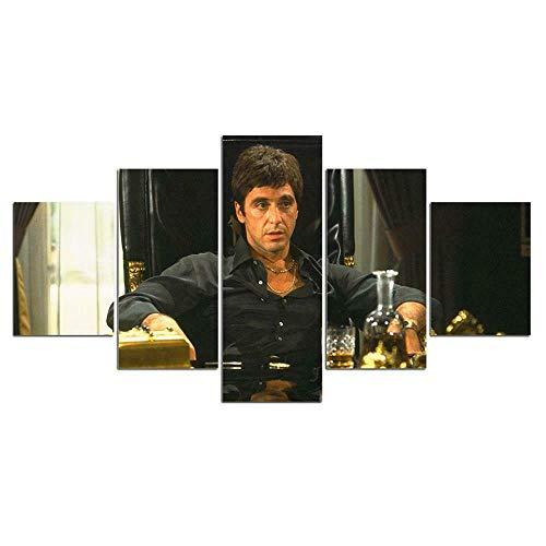 MMSY Películas más emocionantes en 5 Piezas Cuadro Modernos Material no Tejido,Lienzo ArtíSticas HD Pintura Arte Marco PóSter,Decoración Pared Hogar Dormitorios Sala Estar(39' W x22 H)