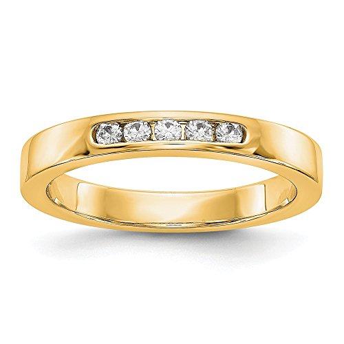 14K Gelb Gold True Origin lab-grown Diamant 5Stein Hochzeit Band Größe 6(0,14Karat, Diamant)