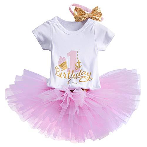 NNJXD Girl Newborn Crown Tutu 1st Birthday 3 Pcs Trajes de Flores Romper + Falda + Diadema Rosa