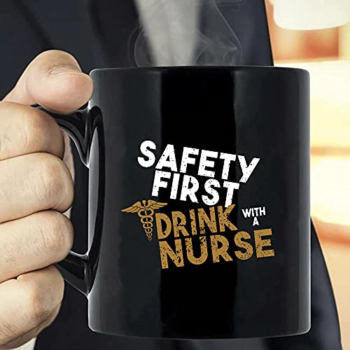Situen Safety First Drink, With A Nurse Coffee Mug - The Funny Coffee Mugs For Halloween, Holiday, Christmas Party Decoration 11-15 Ounce Cettire