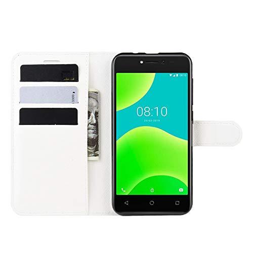DAMAIJIA für Wiko Y50 Hüllen Klapphülle PU Leder Silikon Wallet Schutzhülle Schutz Mobiltelefon Flip Back Cover für Wiko Sunny 4 Sunny4 Tasche Handy Zubehör (White)