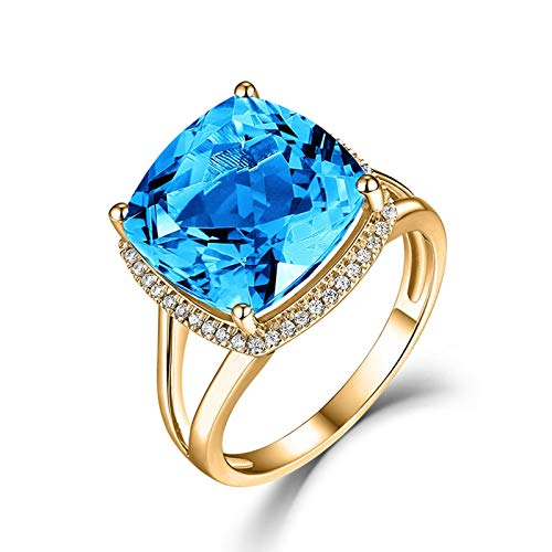 AYDOME Cute Rings for Women, 12.3ct Topaz Square Diamond 18K Gold Blue Brides Girls Size N 1/2