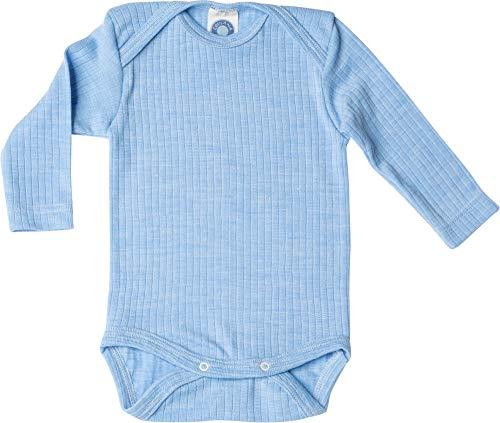 Cosilana, Baby Body Langarm,45% KBA Baumwolle, 35% kbT Wolle, 20% Seide (50/56, Blau meliert)