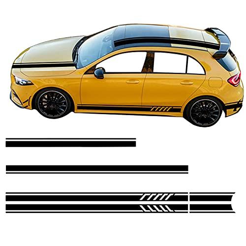 YKANZS Auto Pegatinas de Calcomanías Body Lateral, para Mercedes Benz Clase A W176 W177 A45 A35 Capucha Techo Maletero calcomanía Raya Lateral Falda Pegatina calcomanía