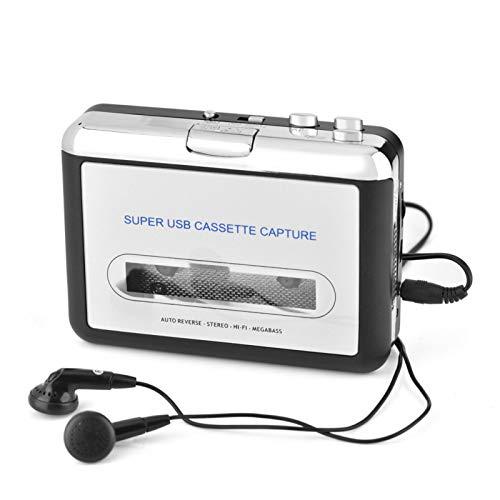Convertitore da Cassetta a MP3, Cassetta da USB a PC Convertitore CD MP3 Switcher Cattura Audio Lettore Musicale con Cuffie Compatibile con PC o Laptop