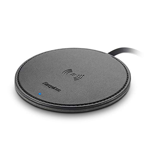 EasyAcc Fast Wireless Charger Pad, 10W Wireless Charging Pad Double Sided PU Leather Black, Flat Desk Induction Qi Phone Charger for 11 Pro iPhone X XS MAX XR 8 Plus, Samsung S10 S9 S8, No AC Adapter