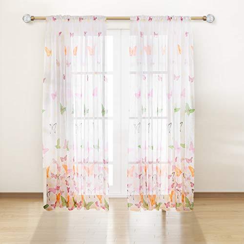 Miystn Tende Modern, Tenda Porta Finestra, Tenda di Voile, Tende a Farfalle per Soggiorno e Camera da Letto (2 Pezzi, 100 cm x 270 cm)