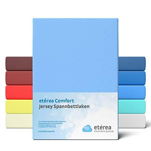 etérea Comfort Jersey Kinder Spannbettlaken 60x120 bis 70 x 140 cm - Weiches Spannbetttuch aus 100% Baumwolle, Bettlaken mit ca. 12 cm Steghöhe und 140 g/m², Hellblau
