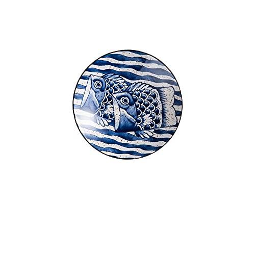 Estilo japonés pintado a mano vajilla de cerámica plato plato plato plato plato de arroz tazón de sopa plato de corte ensalada doméstico-Disco de 7 pulgadas