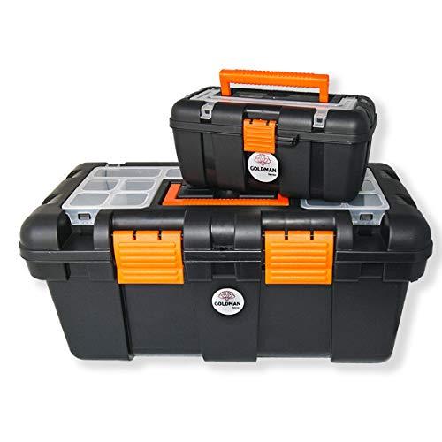 2 Cajas de herramientas vacías, maletas organizadoras plástico bandeja extraíble, maletín almacenamiento resistente con candado, mini tool box para accesorios piezas tornillos, taller, bricolaje