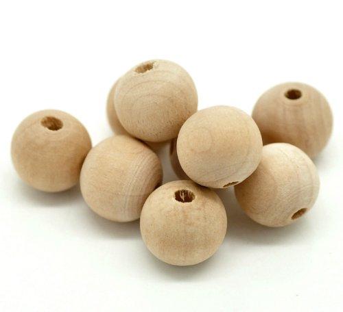 SiAura Material ® - 100 Stück Holzperlen 14mm mit 3,3mm Loch Rund, Naturfarben zum Basteln und Bemalen