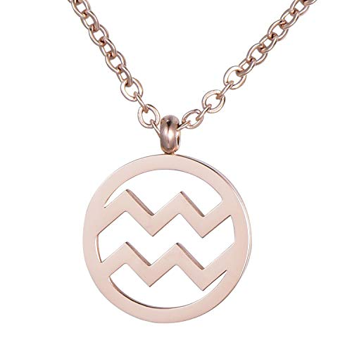 Morella Women's Stainless Steel Necklace Rose Gold with Pendant Star Sign Aquarius in a Velvet Bag