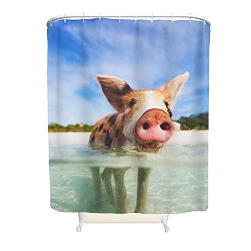 kikomia Maschinenwaschbar Duschvorhang Lustiges Rosa Schwein & Strand Druck Bad Duschvorhänge für Badezimmer white 150x200cm