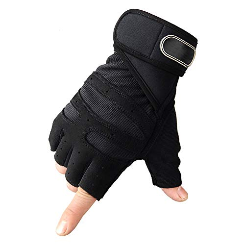 YUZZZKUNHCZ Guantes de fitness para mujer, guantes de levantamiento de pesas, guantes de bicicleta, guantes de medio dedo, azul, negro, rojo, M, L, XL (color: negro, tamaño: mediano)