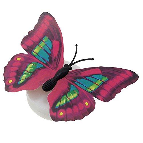 VANKER Romantique 3D Papillon Changement Coloré LED Veilleuse Fête Bureau Autocollant Mural