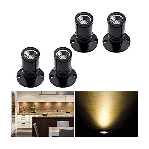 [360 ° drehen]Midore 4 stk Mini LED Einbaustrahler Minispot Einbauleuchte Aluminium Warmweiß mit Transformer Silber Kleiderschrank Beleuchtung Displayleuchte zur Perfekten Warenpräsentation (Schwarz)