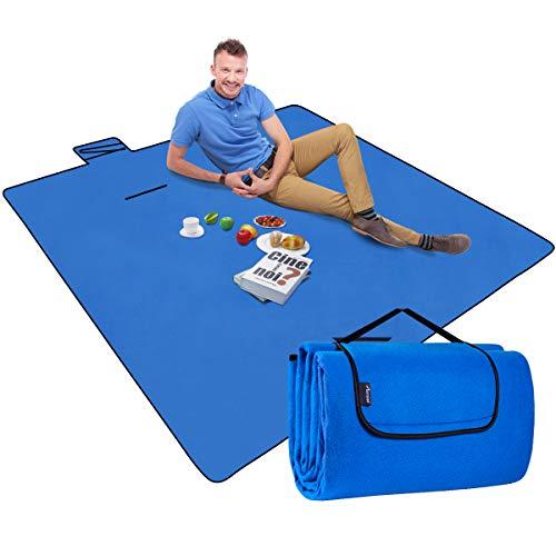 MOVTOTOP Picknickdecke Wasserdicht, Stranddecke 200 x 200 cm Extra groß mit wasserdichter Anti-Sand-Rückseite und Griff- und Schultergurten für Strand, Camping, Grasausflug(Blau)
