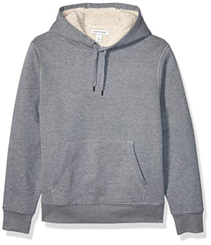 Amazon Essentials Men's Sherpa Lined Pullover Hoodie Sweatshirt, Light Grey Heather, X-Large
