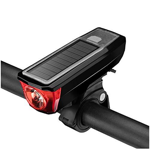 HFXZ2018 Luz de Bicicletas, Solar/Carga USB T6 Luces LED de Bicicletas con el Cuerno, Impermeable Linterna de la Bici Adecuado para Todas Las Bicicletas