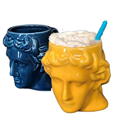 FEIGER Taza Taza de cerámica Creativa Taza de Leche Taza de café Taza de Cabeza Antigua de España Taza de Escultura Romana Taza de Agua de David Tazas de café (Capacid