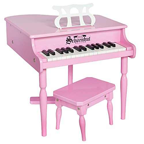Schoenhut Learn to Play Baby Grand Piano - 30 Key Mini Keyboard Piano with Tri-Play Learning System and Bench - Piano Keyboard Toy for Kids Tuned Baby Keys - Pink Piano for Kids Ages 5-9