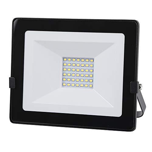 30W LED-spot, IP65 waterdichte gehard glazen wandlamp, 2400LM 4000K schijnwerper buiten voor tuin, garage, sportveld, fabriek en hotel – zwart