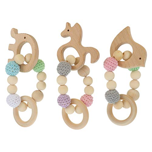 HEALLILY 3 Pcs Wooden Teether Baby Teether Animal Rattle Nursing Bracelet Teething Ring Beaded Molar Chew Toy for Newborn Infant Gift Assorted Color