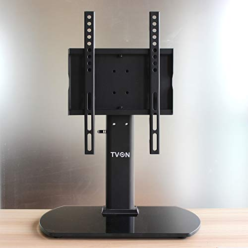 Universal Table Top TV Stand Base with 6 Level Height Adjustable and Swivel Mount Bracket for 2043 Inch Plasma LCD Led Flat or Curved Screen TVs Vesa Patterns Up to 300mm x 200mm