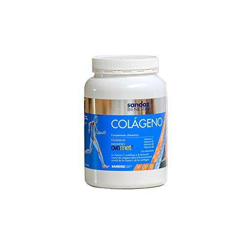 Sandoz Bienestar - Complemento Alimenticio de Colágeno Para Músculos y Articulaciones, Magnesio, Vitaminas y Membrana de Huevo, Blanco, Sabor Mandarina, 360 G
