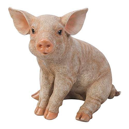 Dehner Dekofigur Schwein, sitzend, ca. 24 x 17 x 23 cm, Polyresin, zartrosa
