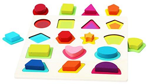 Toys of Wood Oxford Holzpuzzle für Kleinkinder - Mein erstes Baby Puzzle - Große Formen und Farben sortieren - Lernspielzeug für Kinder ab 18 Monate