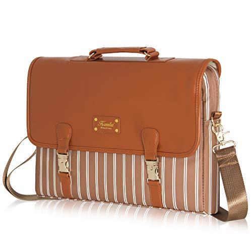 Laptop Bag 15.6 inch - for Women PU Waterproof Laptop Case Shoulder Messenger Bag (Brown) …