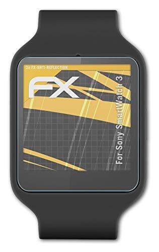 atFoliX Panzerfolie kompatibel mit Sony SmartWatch 3 Schutzfolie, entspiegelnde & stoßdämpfende FX Folie (3X)