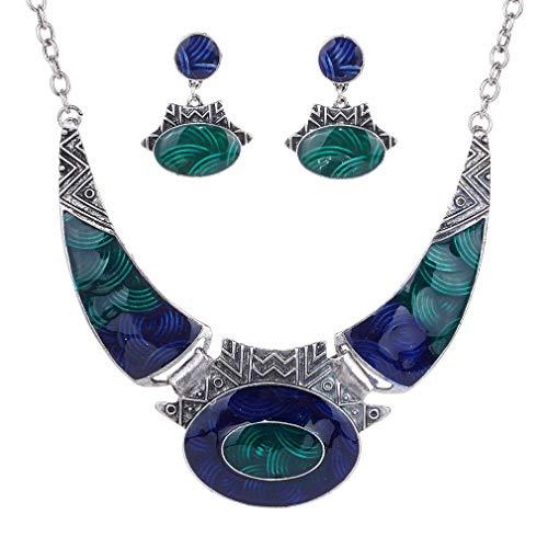 YAZILIND Étnico Azul Oscuro Verde En Relieve Tibetano Astilla Bib Collar Pendientes Collar Joyería Conjunto Mujeres